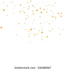 Star Falling Print. Gold Yellow Starry Background. Vector Confetti Star Background Pattern. Starlight Night. Astral Design. Golden Starlit Card. Confetti Fall Chaotic Decor. Modern Creative Pattern.