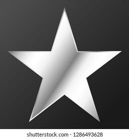 Star favorite icon or symbol silver favority star for premium design, sharp angle design on gradiant dark gray background