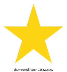 Star favorite icon or symbol with yellow in flat design , sharp angle design