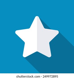Star, favorite icon, vector illustration. Long shadow effect. Flat style design