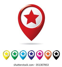 Star favorite pin map icon. Map icon set