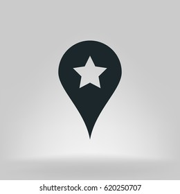 Star favorite pin map icon