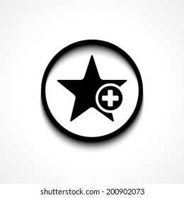 Star favorite sign web icon with plus glyph. Vector illustration design element eps10