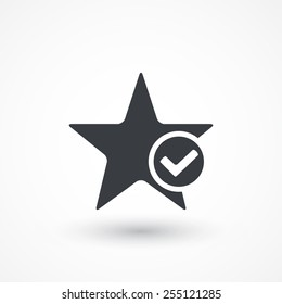 Star favorite sign web icon with tick sign. Vector illustration design element. Flat style design icon
