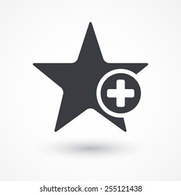 Star favorite sign web icon with plus glyph. Vector illustration design element. Flat style design icon