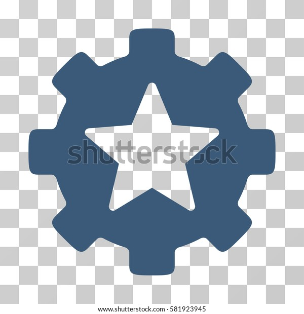 Star Favorites Options Gear vector pictogram. Illustration style is a flat iconic blue symbol on a transparent background.