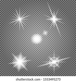 Star flare vector set. Lens light effect. Special flash lightning ray isolated on transparent background. Camera headlamp highlight twinkle. Abstract circle sparkle. Magical glowing collection