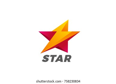 Star Flash Thunderbolt Logo abstract design vector template. Fast Speed Energy Leader Logotype concept icon symbol.