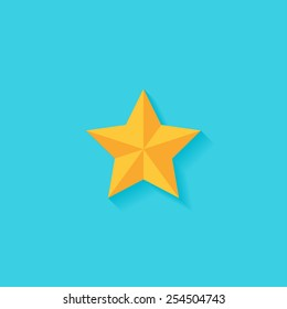 Star flat icon. Modern flat icons vector collection with long shadow effect in stylish colors of web design objects. Trendy Flat Style. Isolated on blue background. Flat design. EPS 10.