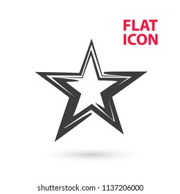 Star, Flat vector icon. Creative contour of Star for decoration of Mobile applications or web sites and other design elements.
