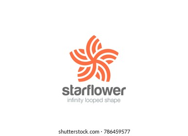 Star Flower abstract shape Logo design vector template.