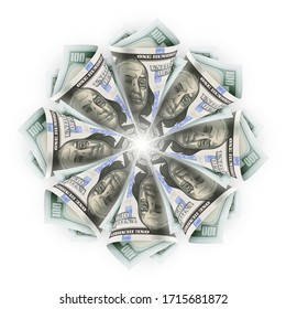 Star flower origami of twisted folded paper currency banknotes of one hundred american dollars (USD), isolated on white background, Business creative concept. Eps10 vector illustration.