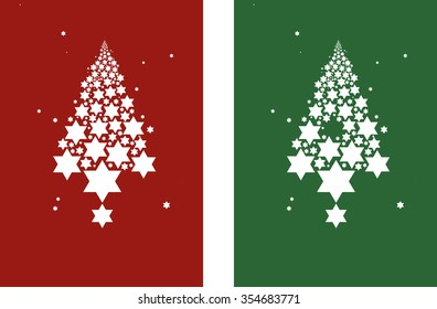 Star forming a Christmas tree graphic
