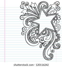 Star Frame Border Back to School Sketchy Notebook Doodles- Vector Illustration Design on Lined Sketchbook Paper Background