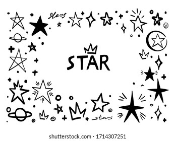 Star frame doodle. abstract hand drawn scribble stars shape elements. Cartoon line marker sketch for text emphasis on white background. Pen graphic and highlight sketch in graffiti style
