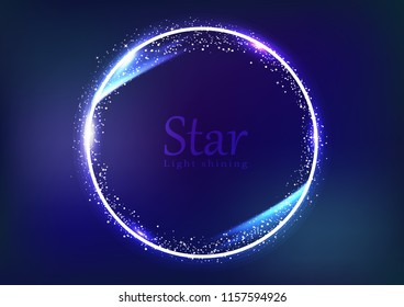 Star frame galaxy and space banner concept, circular ring light shining glowing sparkle effect dust explosion scatter bright neon celebration event abstract background vector illustration
