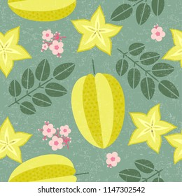 Star fruit seamless pattern. Ripe carambola with leaves and flowers on shabby background. Original simple flat illustration. Shabby style.