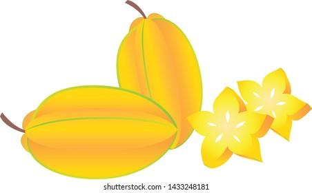 Star fruit, tropical fruits  illustration