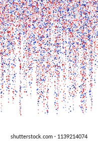 Star garlands on white American President Day vector.  Holiday confetti in USA flag colors for Independence Day. Red blue white stars American patriotic graphics. Stardust garlands.
