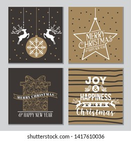 star gift ball deer banners merry christmas card vector illustration
