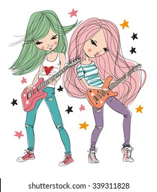 Star girls playing guitar.