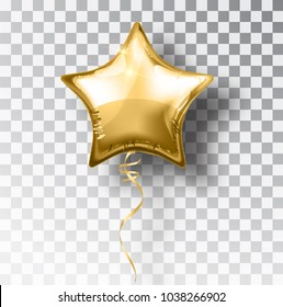 Star gold balloon on transparent background. Party helium balloons event design decoration. Balloons isolated air. Mockup for balloon print. Stocking Christmas decorations. Vector isolated object.