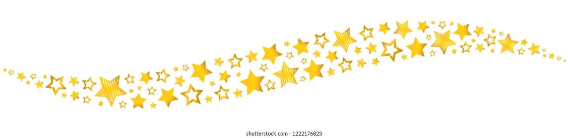 Star golden wavy isolated
