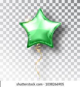 Star green balloon on transparent background. Party helium balloons event design decoration. Balloons isolated air. Mockup for balloon print. Stocking Christmas decorations. Vector isolated object.