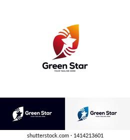 star green logo design template, leaf logo designs vector