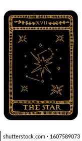 The Star. Hand drawn major arcana tarot card template. Tarot vector illustration in vintage style with mystic symbols, crystals and line art stars. Witchcraft concept for tarot readers