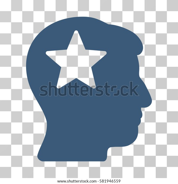 Star Head vector icon. Illustration style is a flat iconic blue symbol on a transparent background.