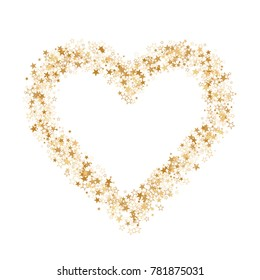 Star heart as a constellation love explosion vector illustration.  Shining love galaxy made of flying gold stars vector. Glorious heart symbol Valentine graphic design.