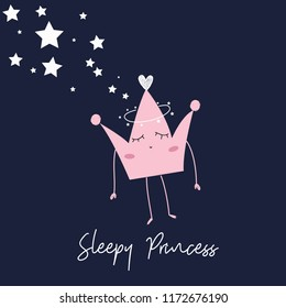 star heart crown text art vector