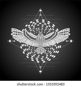 Star with hypnotic round and flying bird. Line art. Detailed mandala and triangles. Symbol of yoga. Wheel of samsara. To be use for tattoo art, print t shirt, coloring book pages. Hypnotic symbol.