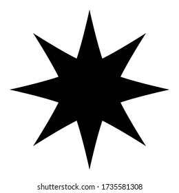 star icon with eight pointed isolated on white background. vector illustration