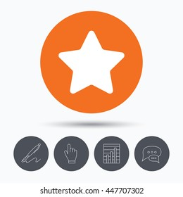 Star icon. Favorite or best sign. Web ranking symbol. Speech bubbles. Pen, hand click and chart. Orange circle button with icon. Vector