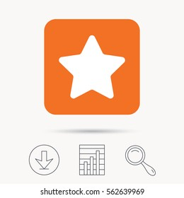 Star icon. Favorite or best sign. Web ranking symbol. Report chart, download and magnifier search signs. Orange square button with web icon. Vector