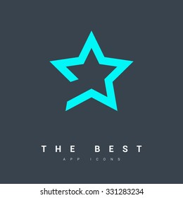 star icon. Leader, winner, boss, rank, medal, sport logo, competition, sky symbol, astrology, military, troops. Isolated minimal single flat icon.