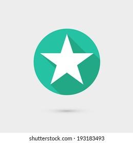 star icon long shadow flat design vector illustration