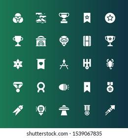 star icon set. Collection of 25 filled star icons included Fireworks, Medal, Ufo, Light, Compass, Bookmark, Lights, Comet, Scorpion, Uranus, Badge, Shuriken, Trophy, Cinema, Alien