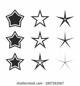 Star icon set on white background. Vector