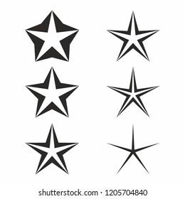 Star icon set on white background.