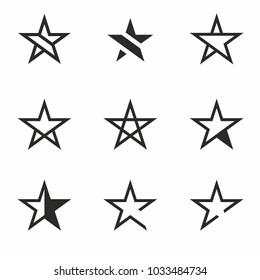 Star Icon set vector. Favorite Symbol or Button. Star Logo