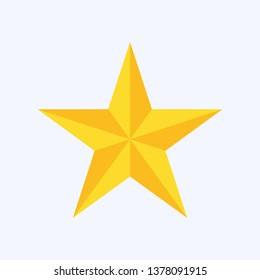 Star icon, trendy flat favorite design on blue background