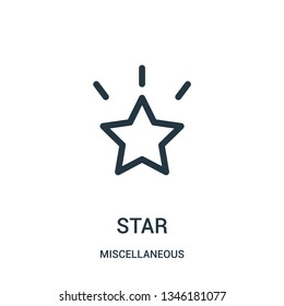 star icon vector from miscellaneous collection. Thin line star outline icon vector illustration. Linear symbol for use on web and mobile apps, logo, print media.