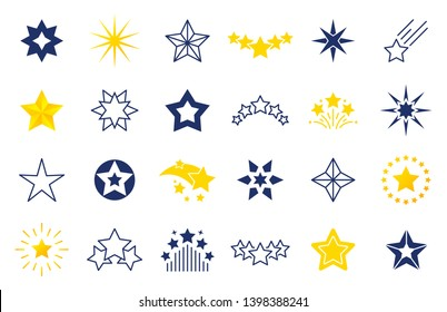 Star icons. Premium black and outline symbols of star shapes, four five six-pointed star labels on white background. Vector falling stars illustration set