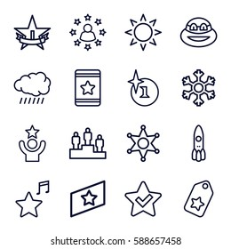 star icons set. Set of 16 star outline icons such as sun, explosion, star, favorite music, snowflake, sheriff, rank, ranking, ninja, tag, celebrity