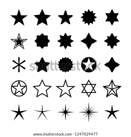 Star icons set Five