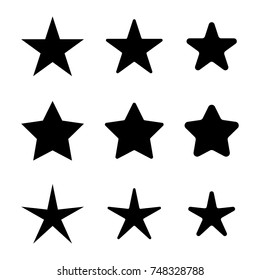 Star icons set, various five pointed black isolated stars, vector illustration.
