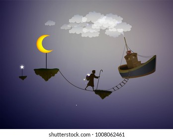 star keeper, magic ship in the dreamland, the moon, scene from wonderland, vector